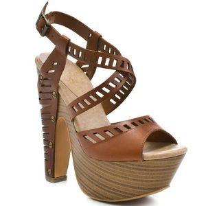 Jessica Simpson Trixie Platform Sandals Tan Heels